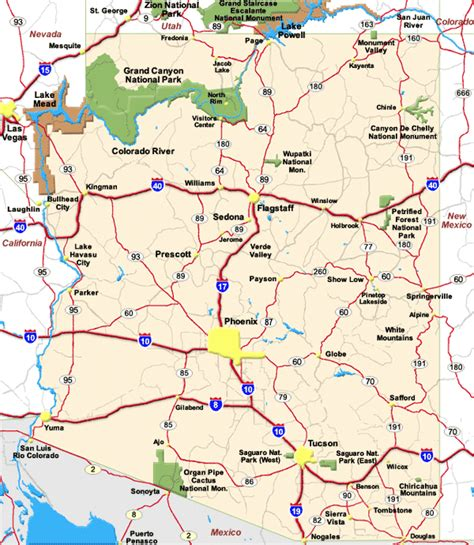 map of and arizona map of arizona map pictures