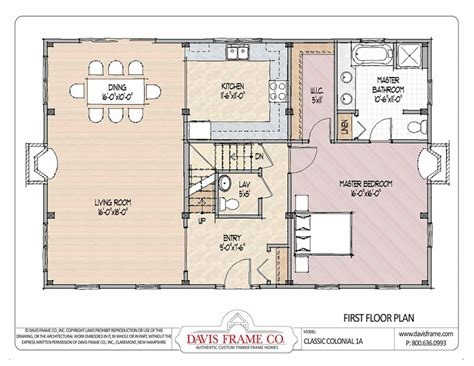 Classic Colonial Floor Plans | barn house plans classic colonial layout 1a davis frame