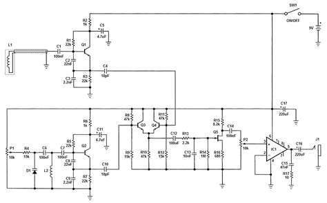 metal detector circuit diagram simple bfo metal detector schematic diagram
