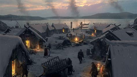 dusk  viking village wallpaper  expeditions viking