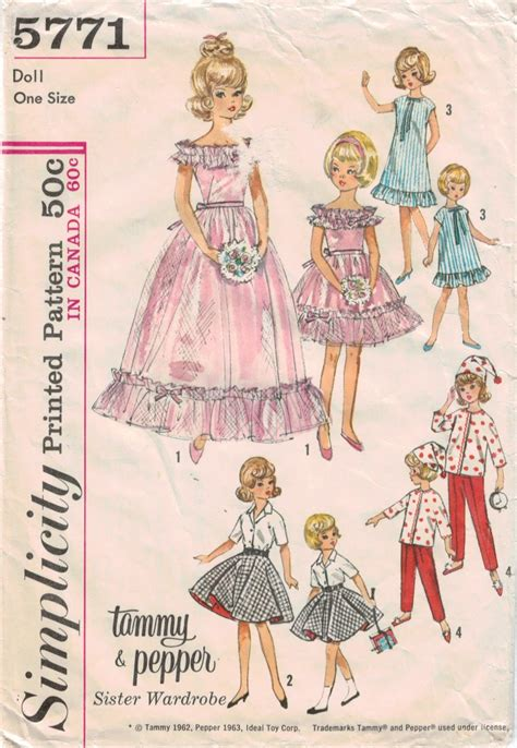 clothes patterns simplicity pattern 5771 tammy and pepper dolls vintage doll clothes pattern sewing