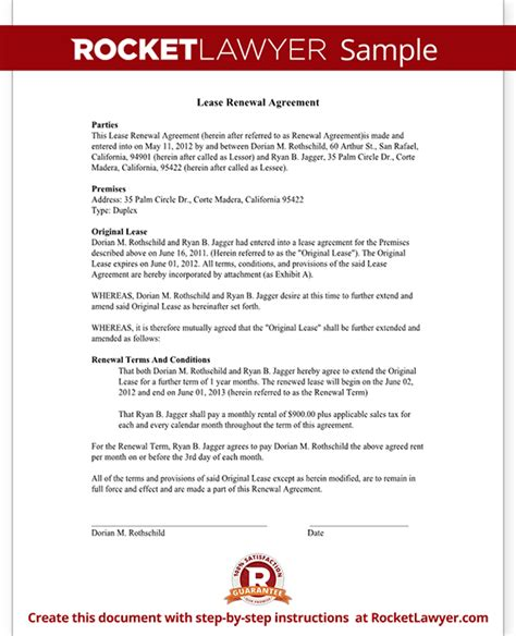 Renewal Of Service Agreement Letter lease renewal agreement form rental lease renewal with