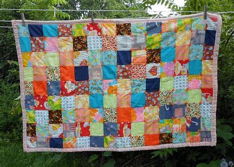 Bohemian Patchwork Quilt - vtg patchwork square boho hippie baby blanket small