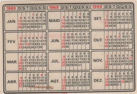 Calendario De 1969 Calend 225 Bolso Real Restaurante 1969 Ab1 R
