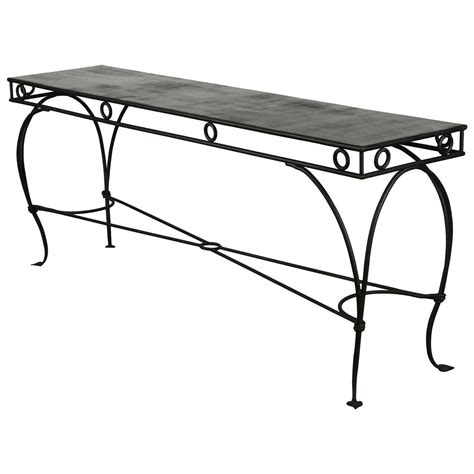 rod iron sofa table wrought iron moroccan style console or sofa table at 1stdibs