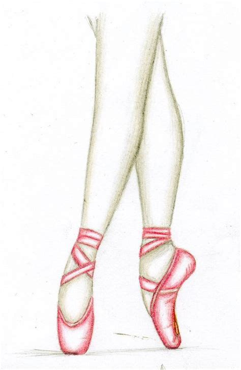how to draw ballet slippers shoe pointe shoe pencil and in color shoe