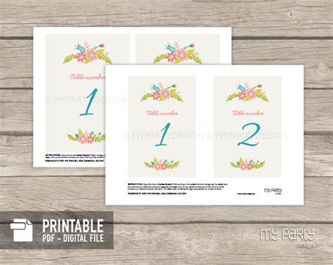 printable table numbers designs floral table numbers ivory printable wedding decor my
