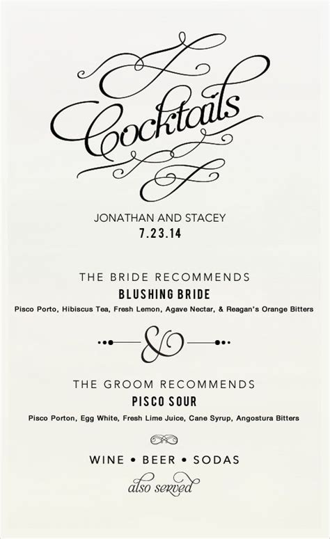 signature cocktail sign cocktail mocktail recipes