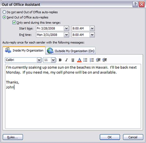 away message template and external messages in outlook 2007 out of