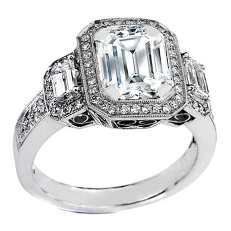 engagement ring three emerald cut vintage