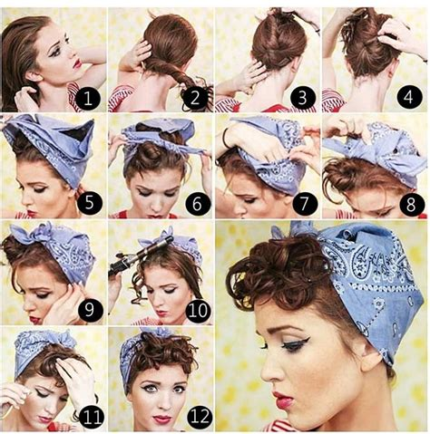 bandana with bob cut vintage pin up hairstyle community vintage and rockabilly