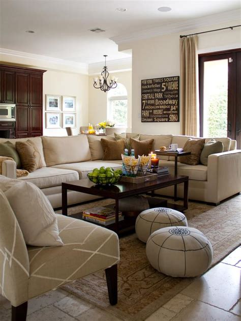 neutral living room with beige sectional hgtv