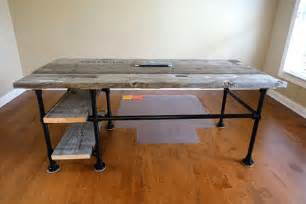 Reclaimed Wood Desk Diy Reclaimed Wood Pipe Desk Deskweek Keekl D I Y Pinterest Islands Construction And