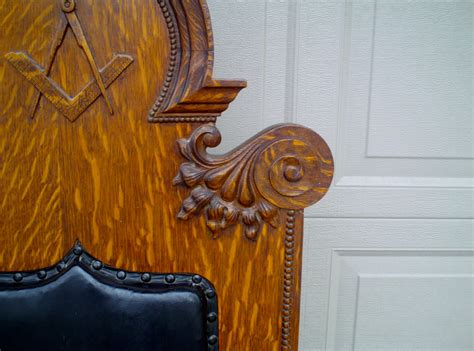 Masonic Chairs For Sale by Antique Ornate Carved Oak Masonic Chair For Sale