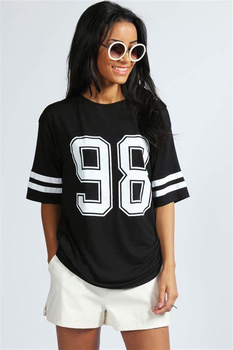top jersey boohoo debbie number 98 print oversized top jersey ebay