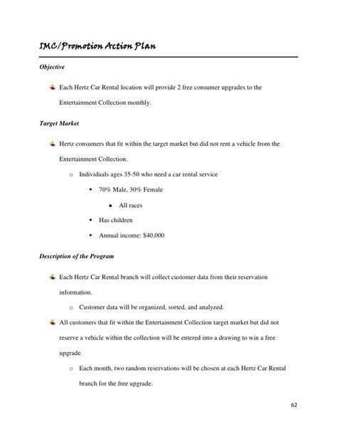 template business plan for car rental hertz marketing plan