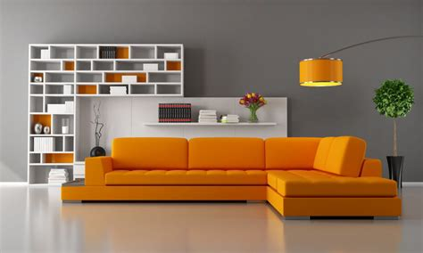 orange interior design the grey color in the interior and its combinations with