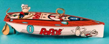 cartoon popeyes boat popeye and felix character tin wind up toy boats