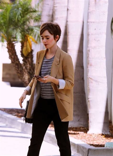 pixie haircut clothing lily collins стрижки pinterest lily collins
