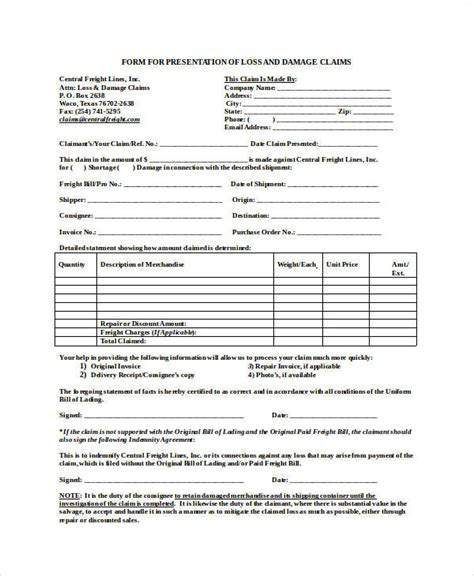 Freight Claim Form Template Gallery Template Design Ideas Freight Claim Form Template