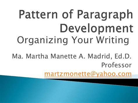 definition pattern paragraph pattern of paragraph development