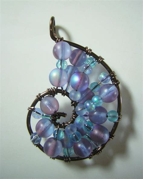 how to make wire wrap jewelry blue and purple wire wrapped seashell pendant by