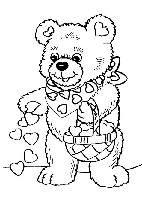 teddy bear valentine coloring page bears with hearts coloring pages gianfreda net