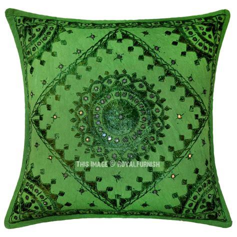Green Sofa Pillows Green Mirror Embroidered Cotton Sofa Indian Throw Pillow Royalfurnish