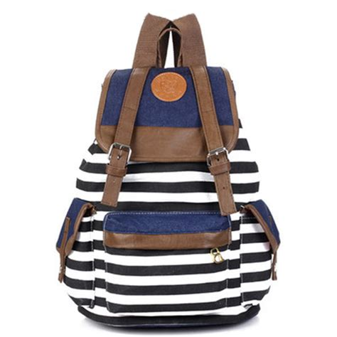 7 Fashionable Bags For School by Fashion Unisex Backpack Canvas Stripe Leisure Bags