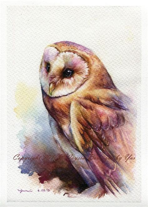 water color owl print the owl watercolor painting 7 5 x 11 watercolor