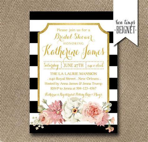 printable black and white bridal shower invitations floral with black and white stripe bridal shower