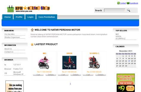 membuat web olshop aplikasi penjualan motor yamaha sourcecode php dot net