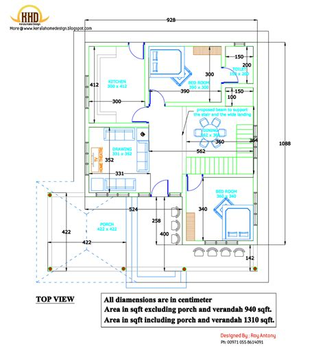 planning of house drawing 2d house plan sloping squared roof kerala home design and floor plans