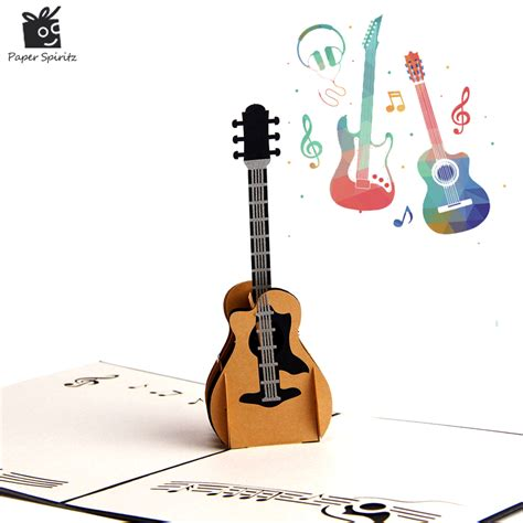 guitar birthday card template 3d pop up laser cut vintage cards guitar postcards happy