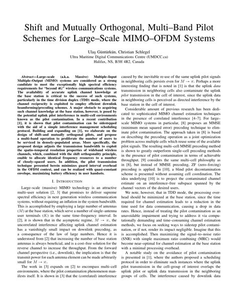 Ofdm Mimo Research Paper by Shift And Mutually Orthogonal Multi Band Pilot Schemes For Large Scale Mimo Ofdm Systems Pdf
