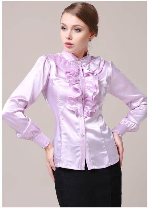 Ruffle Blouse ruffled blouse satin tie collar blouses