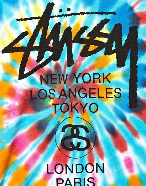 Bape Logo Tiedye lyst stussy tshirt tie dye world tour logo in blue for