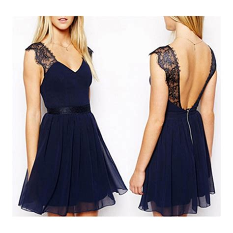 Mergory Flowery Flare Mini Dress fit and flare dress backless lace navy blue v neck