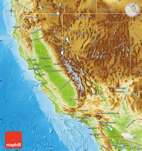 geographic map of california physical map of california