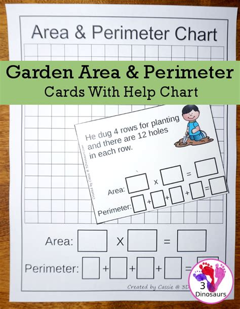 printable area for word fun to use garden themed area perimeter cards 3 dinosaurs