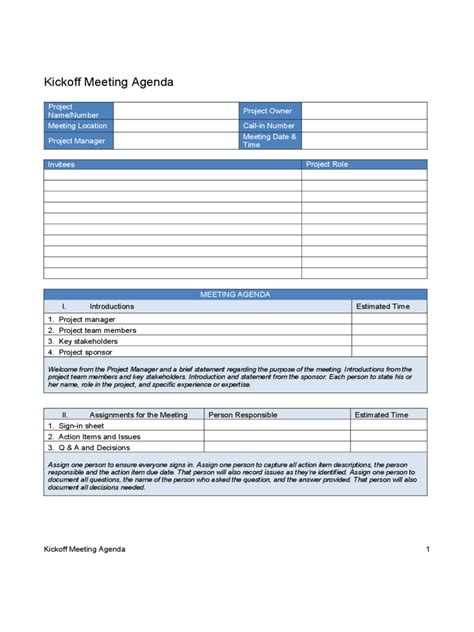 Kick Off Meeting Template   2 Free Templates in PDF, Word