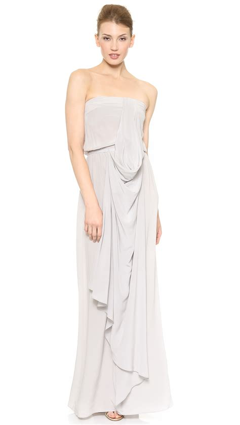 zimmermann strapless drape dress zimmermann strapless draped maxi dress in gray lyst