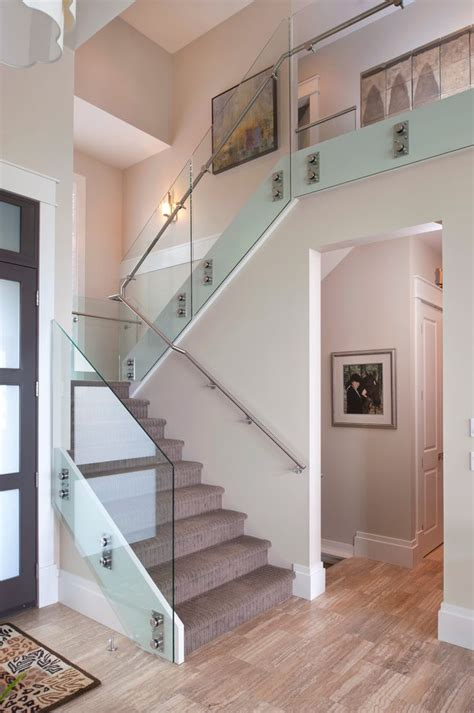 glass banister cost vancouver glass railing cost staircase contemporary with