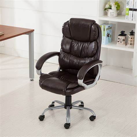Rolling Chair - pu leather office rolling computer chair black mocha high