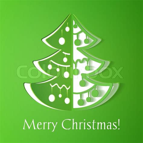 green paper cut out christmas tree illustration with