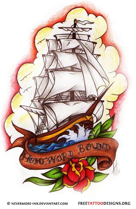 sailor jerry ship tattoo designs traditional school tattoos anchor ship pin