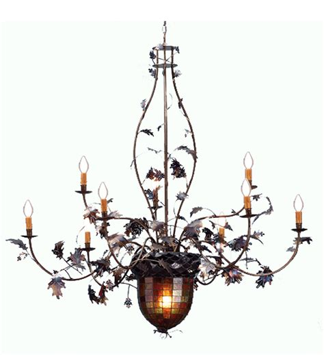 Acorn Chandelier Meyda 69619 Acorn Oak Leaves Nine Light Chandelier