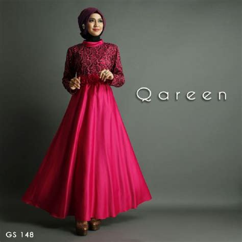 Gamis Pesta Satin baju gamis pesta qareen a210 satin mix jaguard glitter by
