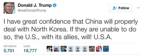 donald trump north korea tweet ww3 fears as trump warns us will deal with north korea if