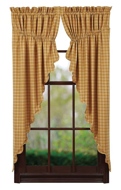 Primitive Window Curtains New Country Primitive Mustard Plaid Prairie Swags Window Curtain Curtains Plaid And Mustard